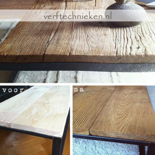Verweerd hout met verniswas en pigment verftechnieken - Kleur grijs zink ...