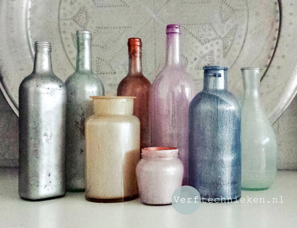 DIY Parelmoer flessen