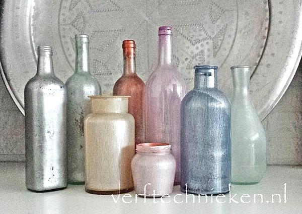 verftechnieken.nl - parelmoer flessen
