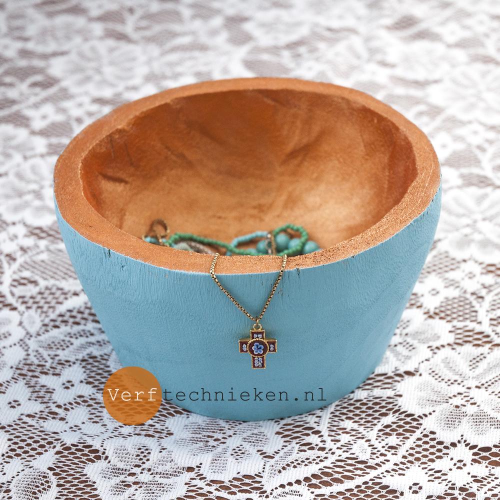 Bronze & Turquoise Bowl - verftechnieken.nl