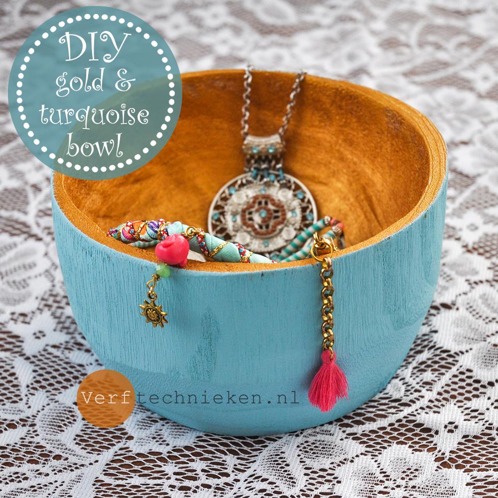 DIY goud en turqoise bakjes