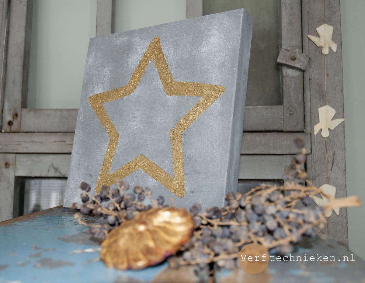DIY gouden ster op beton