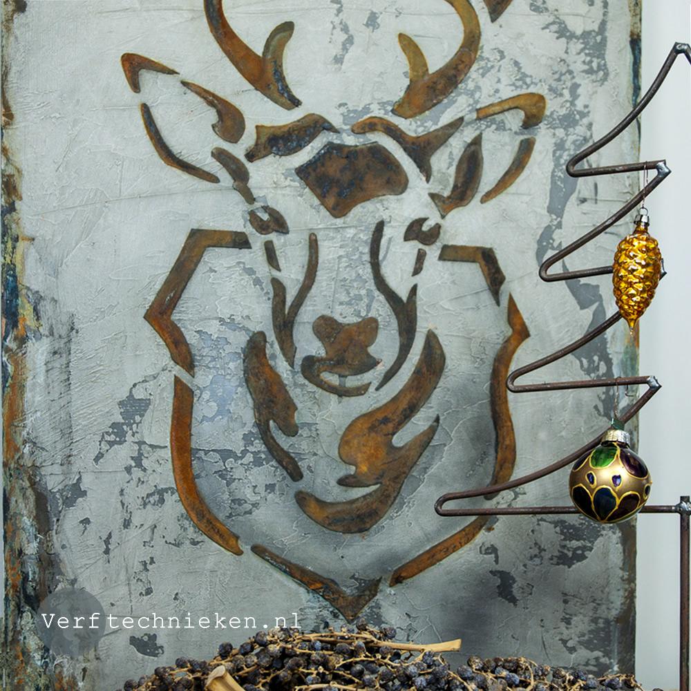 Vintage Kerst Wandbord Hert