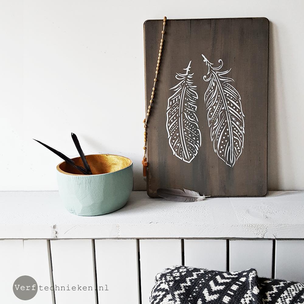 Stencil Boho Feathers | verftechnieken.nl