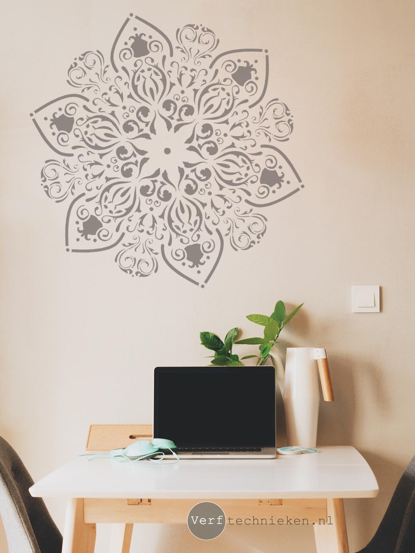 Mandala sjablonen dreamcatchers veren in boho ibiza stijl verftechnieken - Hoe kleed je een witte muur ...