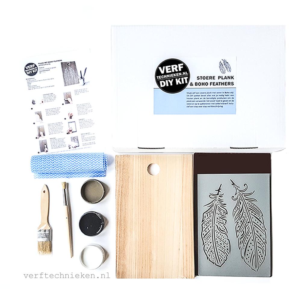 DIY Pakket Plank Boho Feathers